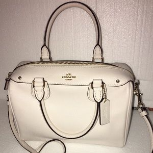 Authentic white Coach Purse. Check out my closet.